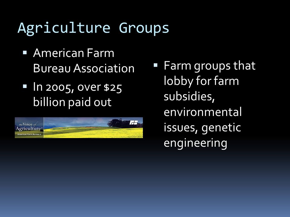Agriculture Groups  Farm groups that lobby for farm subsidies, environmental issues, genetic engineering  American Farm Bureau Association  In 2005, over $25 billion paid out