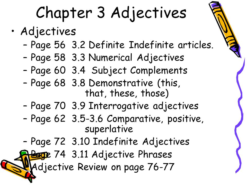 Chapter 3 Adjectives Adjectives –Page Definite Indefinite articles.