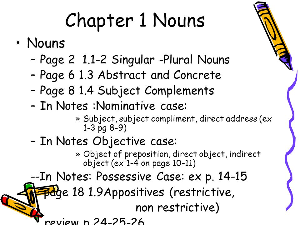 Chapter 1 Nouns Nouns –Page Singular -Plural Nouns –Page Abstract and Concrete –Page Subject Complements –In Notes :Nominative case: »Subject, subject compliment, direct address (ex 1-3 pg 8-9) –In Notes Objective case: »Object of preposition, direct object, indirect object (ex 1-4 on page 10-11) --In Notes: Possessive Case: ex p.