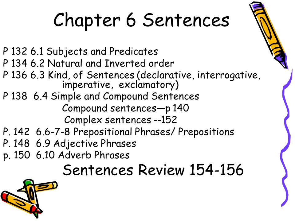 Chapter 6 Sentences P Subjects and Predicates P Natural and Inverted order P Kind, of Sentences (declarative, interrogative, imperative, exclamatory) P Simple and Compound Sentences Compound sentences—p 140 Complex sentences P.
