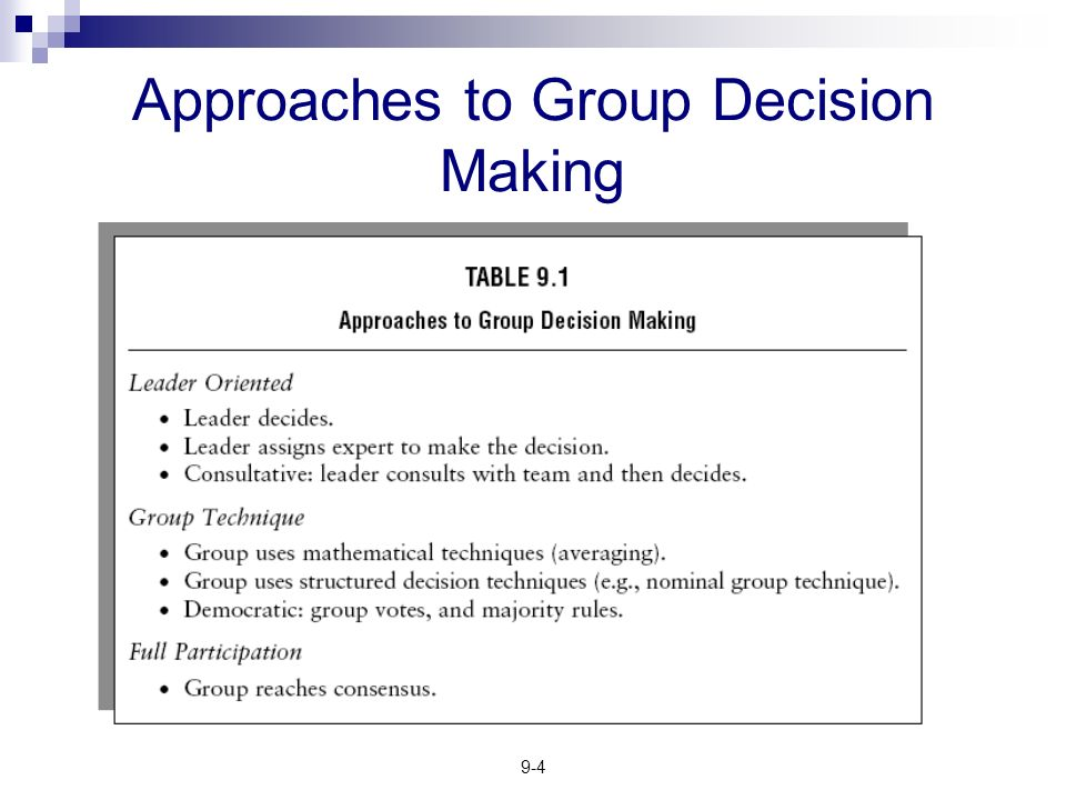 groups leadership and decision making Decision making and problem solving are ongoing groups provide a because a manager often has a choice between making a decision independently or.