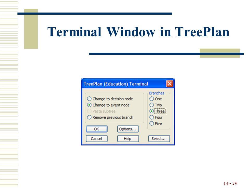 14 - 29 Terminal Window in TreePlan