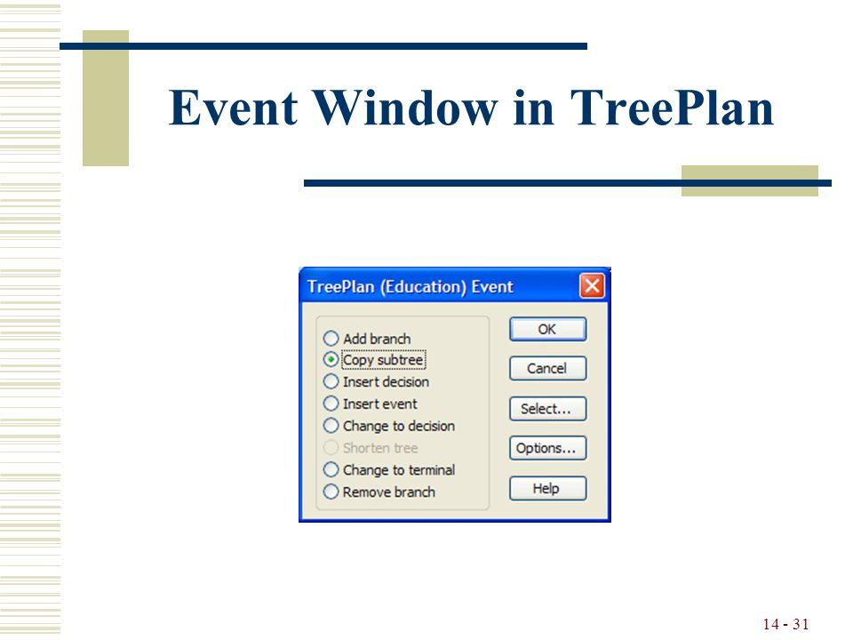 14 - 31 Event Window in TreePlan