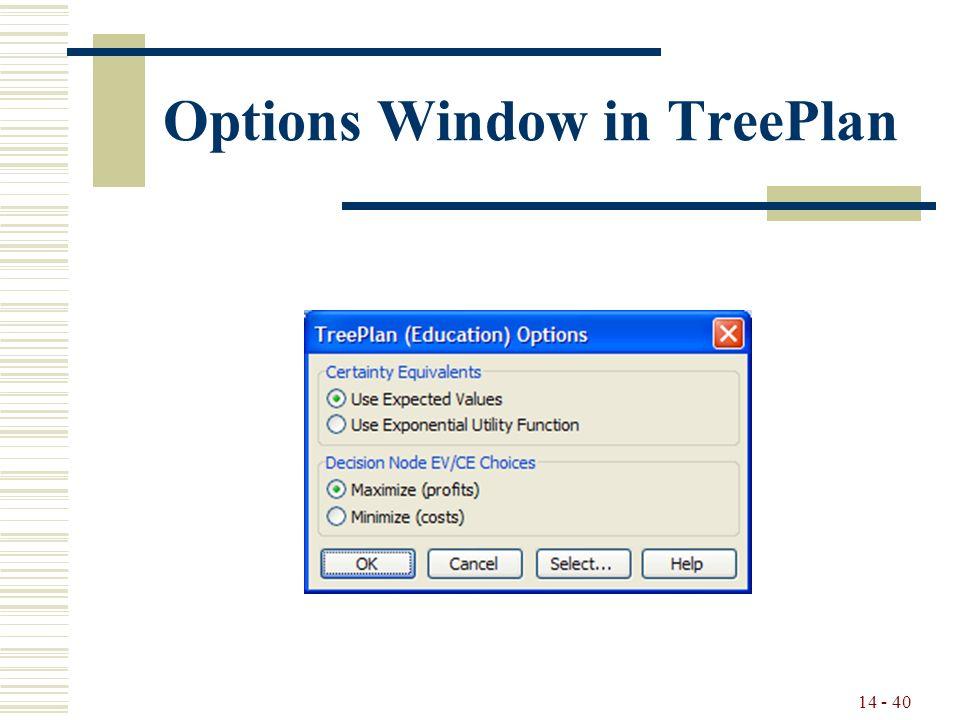 14 - 40 Options Window in TreePlan