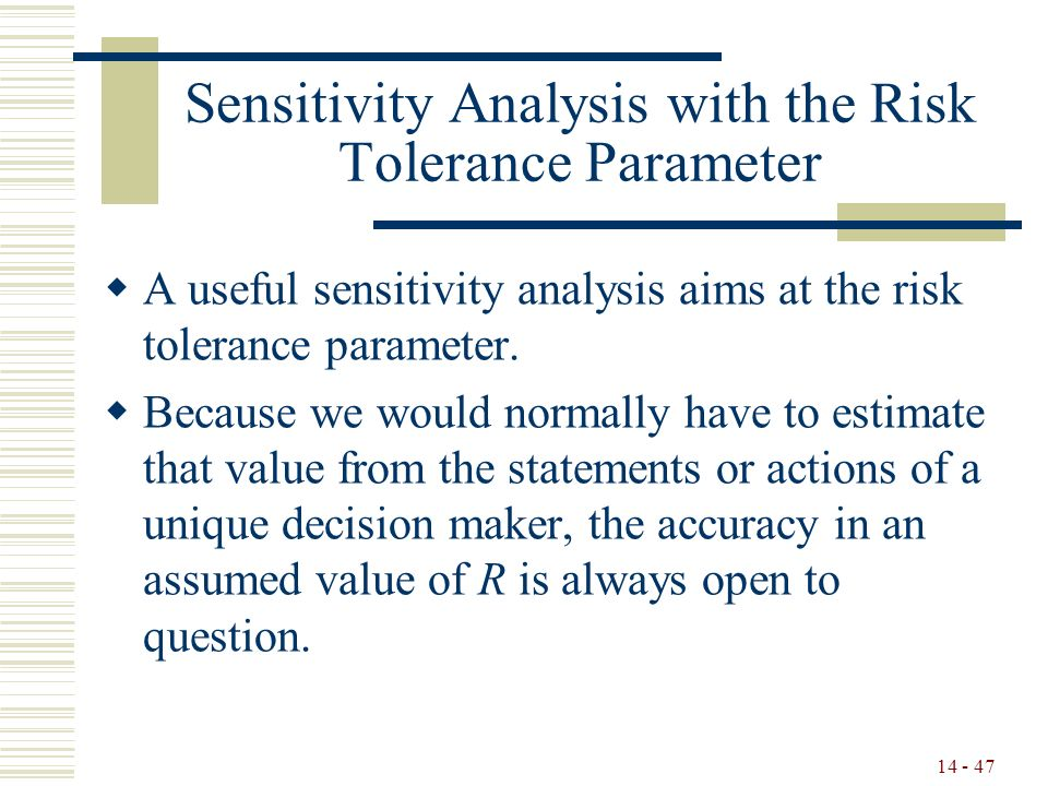 14 - 47 Sensitivity Analysis with the Risk Tolerance Parameter  A useful sensitivity analysis aims at the risk tolerance parameter.