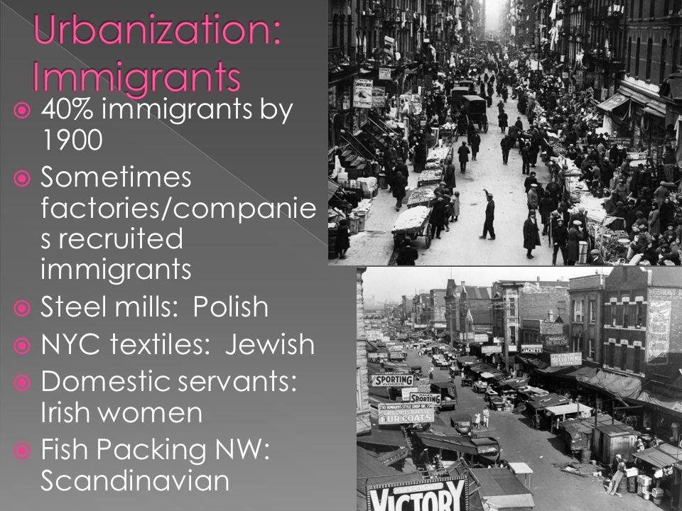  40% immigrants by 1900  Sometimes factories/companie s recruited immigrants  Steel mills: Polish  NYC textiles: Jewish  Domestic servants: Irish women  Fish Packing NW: Scandinavian