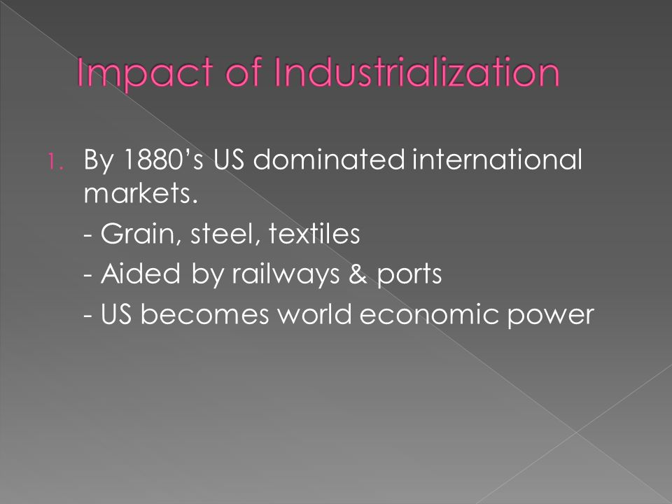 1. By 1880's US dominated international markets.