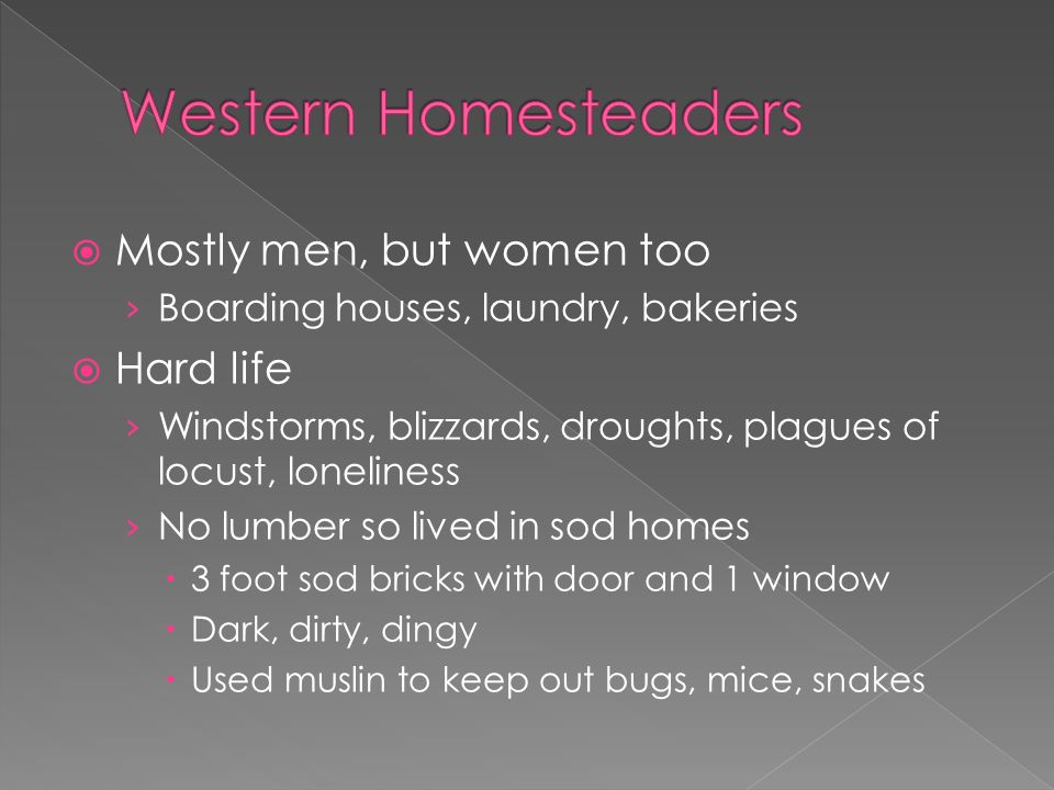  Mostly men, but women too › Boarding houses, laundry, bakeries  Hard life › Windstorms, blizzards, droughts, plagues of locust, loneliness › No lumber so lived in sod homes  3 foot sod bricks with door and 1 window  Dark, dirty, dingy  Used muslin to keep out bugs, mice, snakes