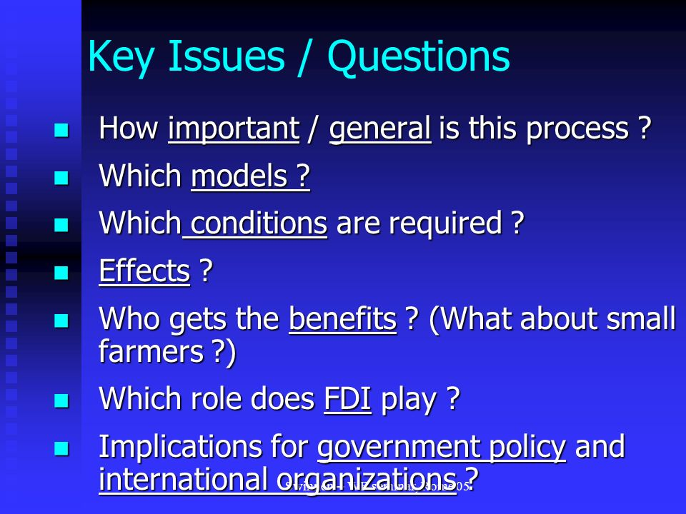 Swinnen -- WB seminar, Rome 05 Key Issues / Questions How important / general is this process .