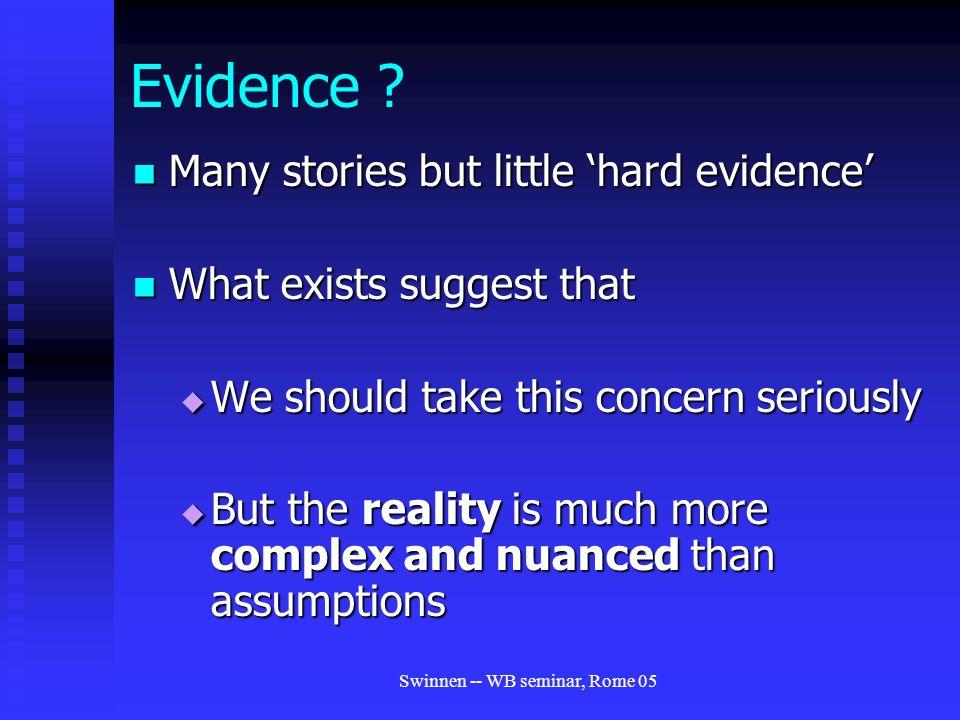 Swinnen -- WB seminar, Rome 05 Evidence .