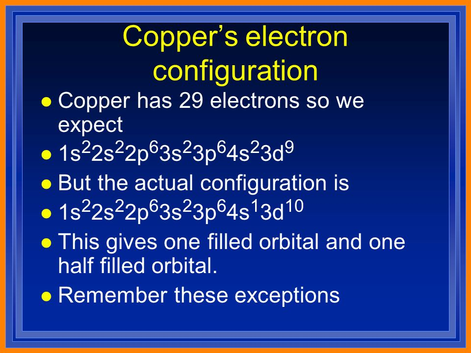 Copper's electron configuration l Copper has 29 electrons so we expect l 1s 2 2s 2 2p 6 3s 2 3p 6 4s 2 3d 9 l But the actual configuration is l 1s 2 2s 2 2p 6 3s 2 3p 6 4s 1 3d 10 l This gives one filled orbital and one half filled orbital.