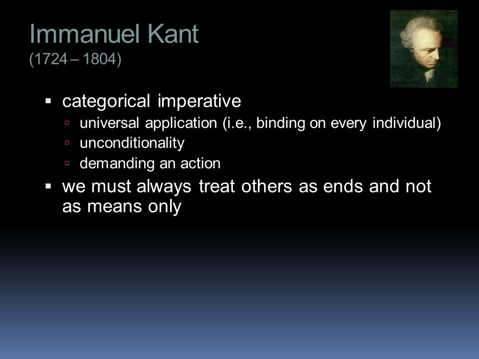 immanuel kants categorical imperative its application