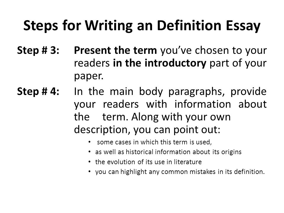 I would like to know can any body help me write a definition essay?