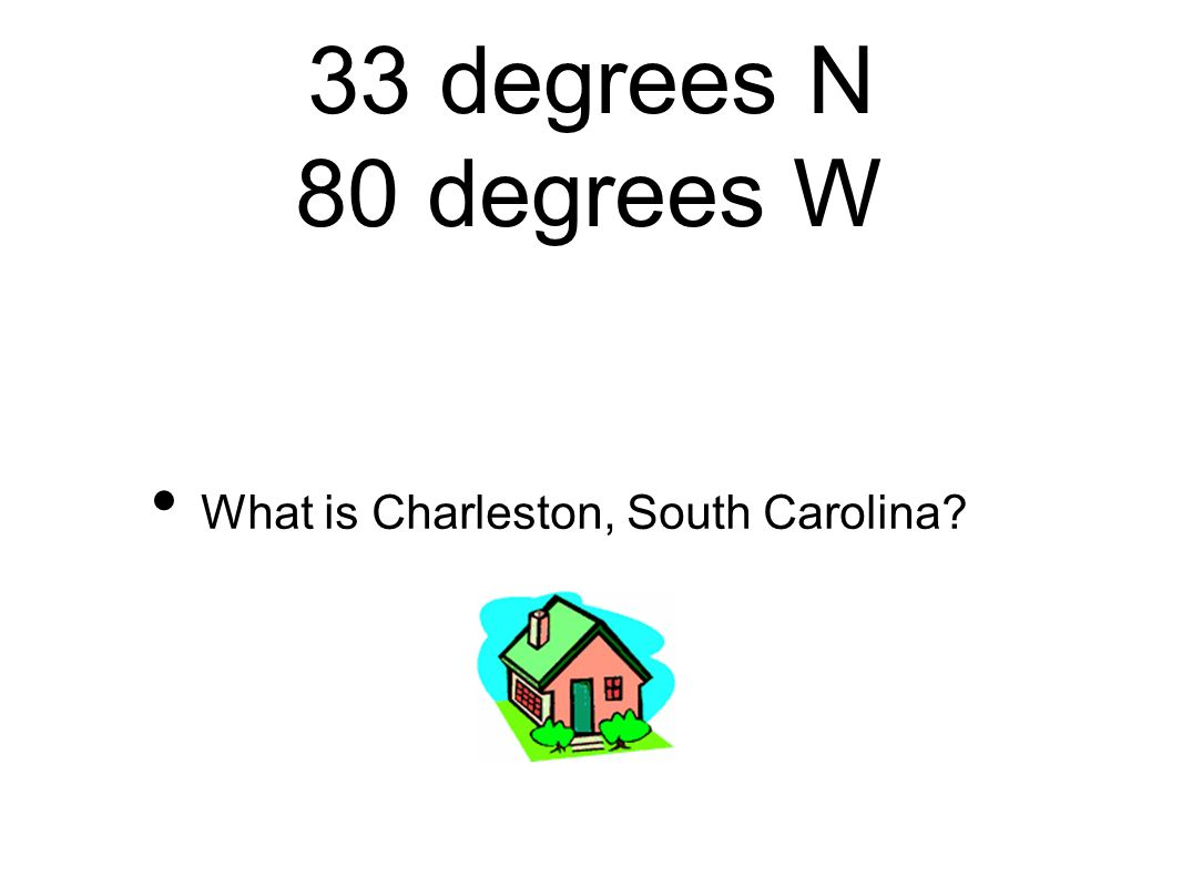 33 degrees N 80 degrees W What is Charleston, South Carolina