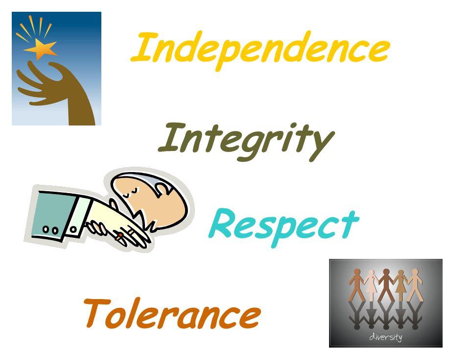 Independence Independence Integrity Integrity Respect Respect Tolerance Tolerance