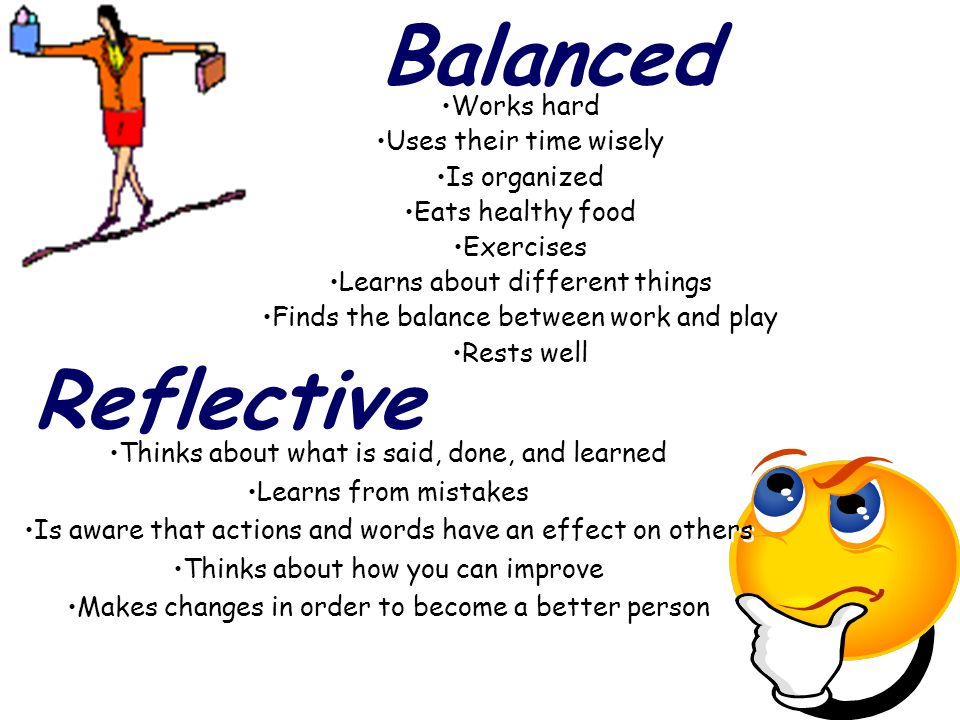 Balanced Works hard Uses their time wisely Is organized Eats healthy food Exercises Learns about different things Finds the balance between work and play Rests well Works hard Uses their time wisely Is organized Eats healthy food Exercises Learns about different things Finds the balance between work and play Rests well Reflective Thinks about what is said, done, and learned Learns from mistakes Is aware that actions and words have an effect on others Thinks about how you can improve Makes changes in order to become a better person Thinks about what is said, done, and learned Learns from mistakes Is aware that actions and words have an effect on others Thinks about how you can improve Makes changes in order to become a better person