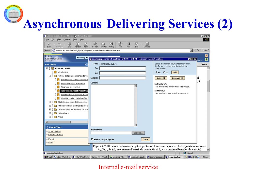Asynchronous Delivering Services (2) Internal e-mail service