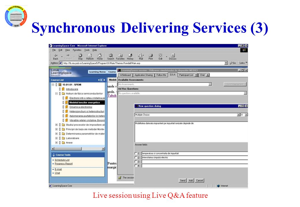 Synchronous Delivering Services (3) Live session using Live Q&A feature