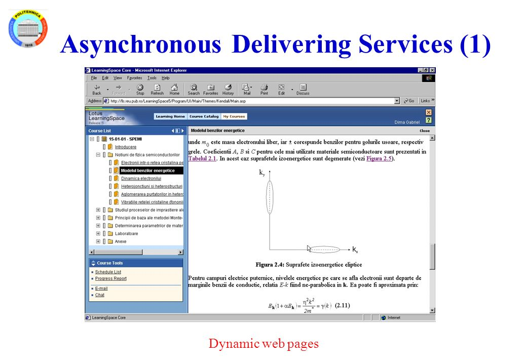 Asynchronous Delivering Services (1) Dynamic web pages