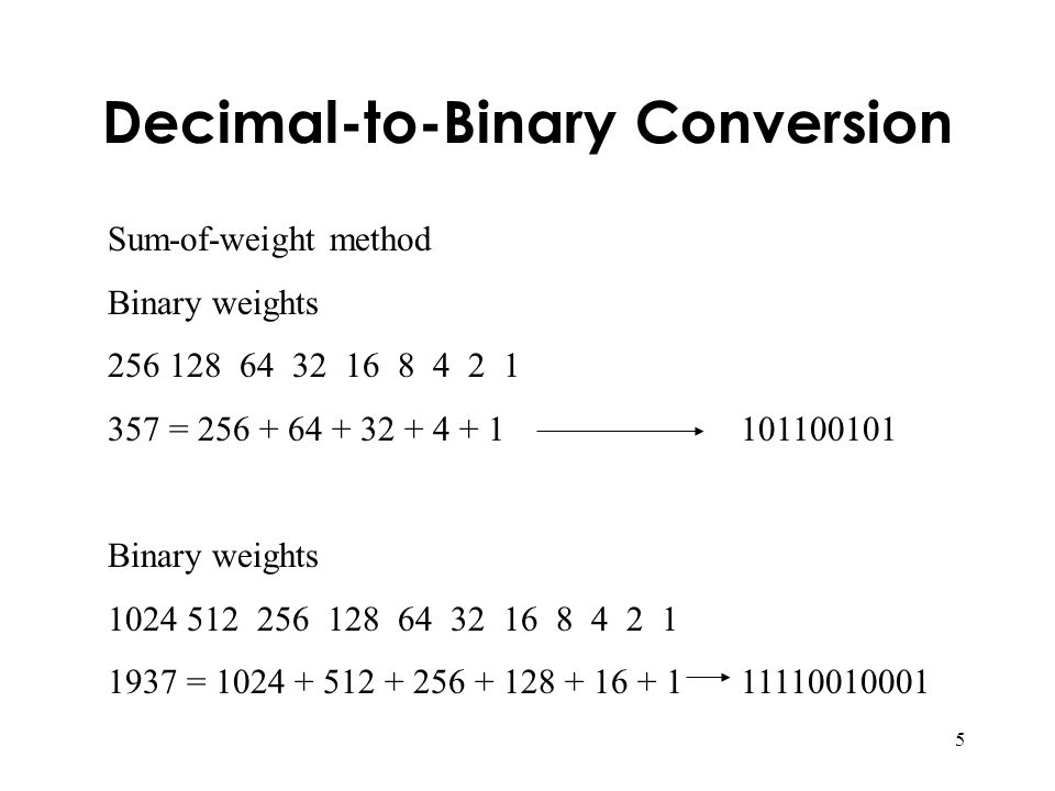 5 Decimal-to-Binary Conversion Sum-of-weight method Binary weights 256 128 64 32 16 8 4 2 1 357 = 256 + 64 + 32 + 4 + 1 101100101 Binary weights 1024 512 256 128 64 32 16 8 4 2 1 1937 = 1024 + 512 + 256 + 128 + 16 + 111110010001