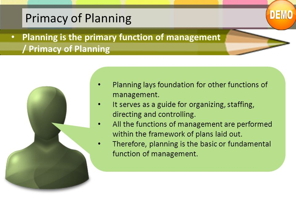Primacy of Planning Planning is the primary function of management / Primacy of Planning Planning lays foundation for other functions of management. I