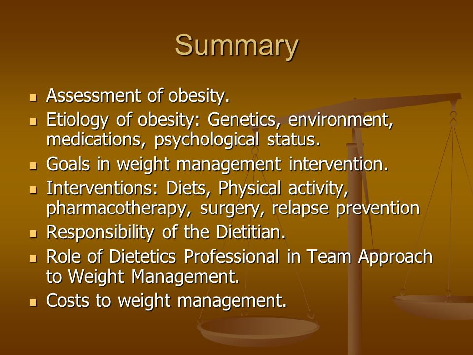 Summary Assessment of obesity. Assessment of obesity.