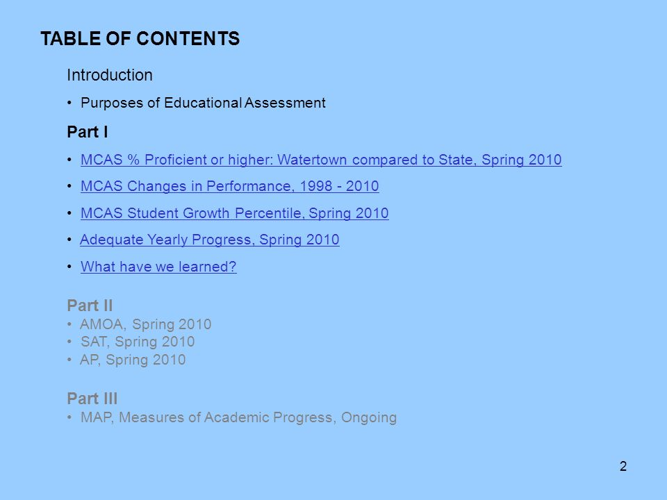 2 Introduction Purposes of Educational Assessment Part I MCAS % Proficient  or higher: Watertown compared