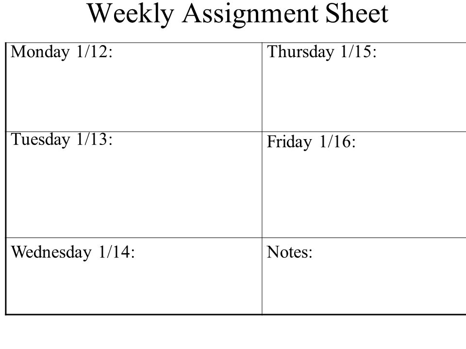 assingment sheet