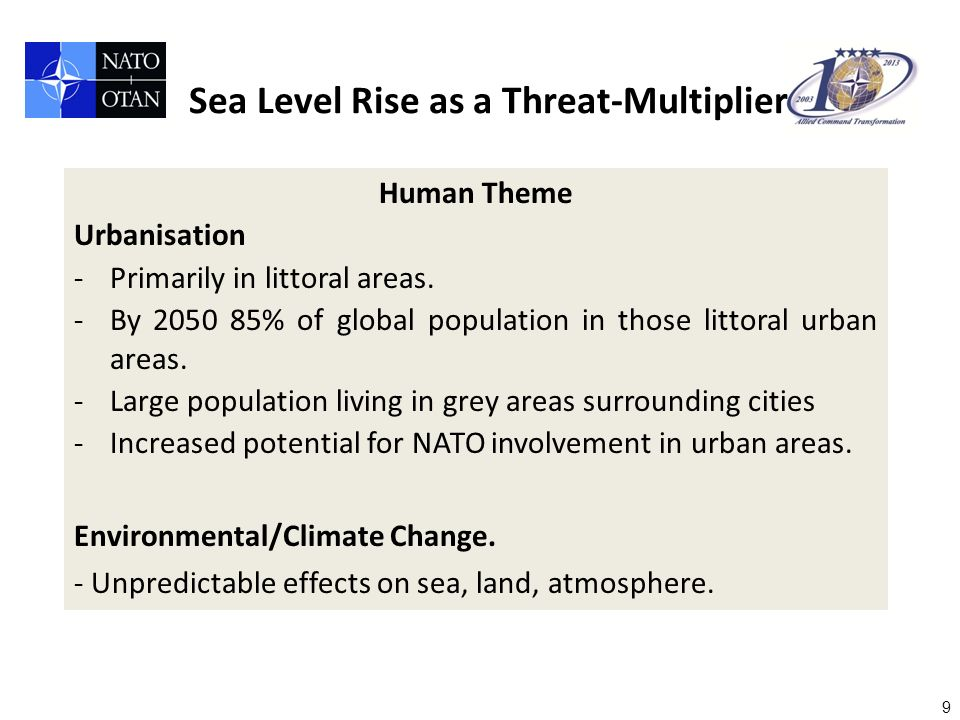 9 Human Theme Urbanisation -Primarily in littoral areas.
