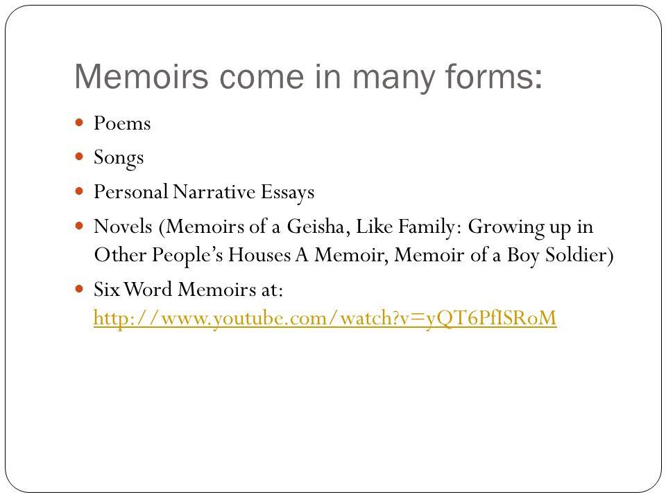 personal essay memoir format