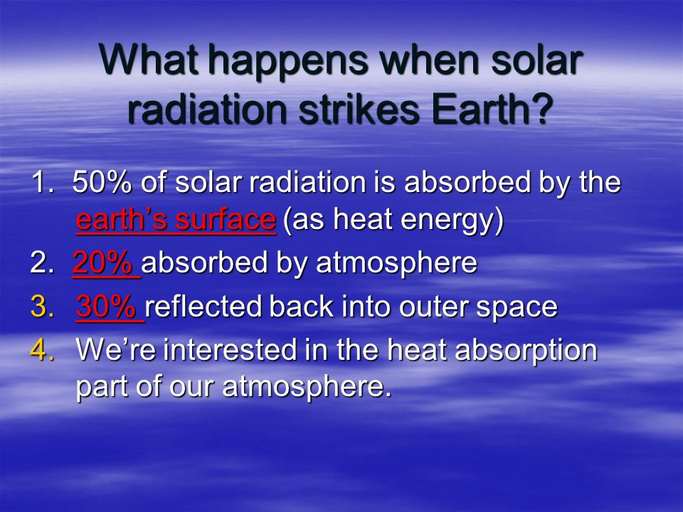 What happens when solar radiation strikes Earth. 1.