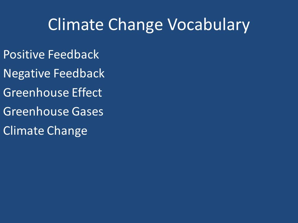Climate Change Vocabulary Positive Feedback Negative Feedback Greenhouse Effect Greenhouse Gases Climate Change