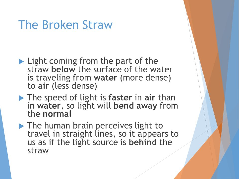 The Broken Straw  Light coming from the part of the straw below the surface of the water is traveling from water (more dense) to air (less dense)  The speed of light is faster in air than in water, so light will bend away from the normal  The human brain perceives light to travel in straight lines, so it appears to us as if the light source is behind the straw