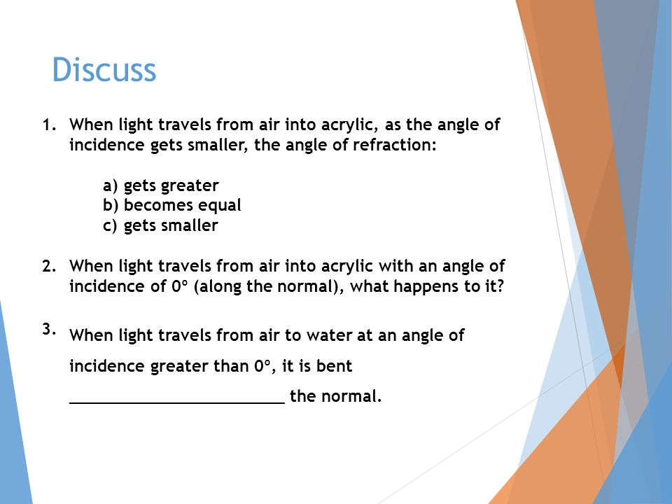 Discuss 1.When light travels from air into acrylic, as the angle of incidence gets smaller, the angle of refraction: a)gets greater b)becomes equal c)gets smaller 2.When light travels from air into acrylic with an angle of incidence of 0º (along the normal), what happens to it.