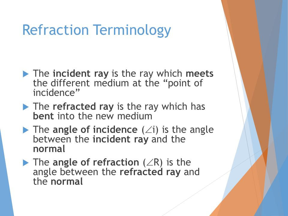 Refraction Terminology  The incident ray is the ray which meets the different medium at the point of incidence  The refracted ray is the ray which has bent into the new medium  The angle of incidence (  i) is the angle between the incident ray and the normal  The angle of refraction (  R) is the angle between the refracted ray and the normal