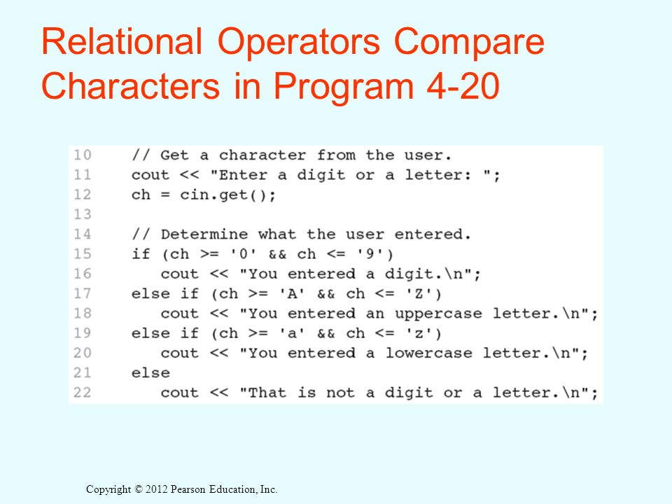 Copyright © 2012 Pearson Education, Inc. Relational Operators Compare Characters in Program 4-20
