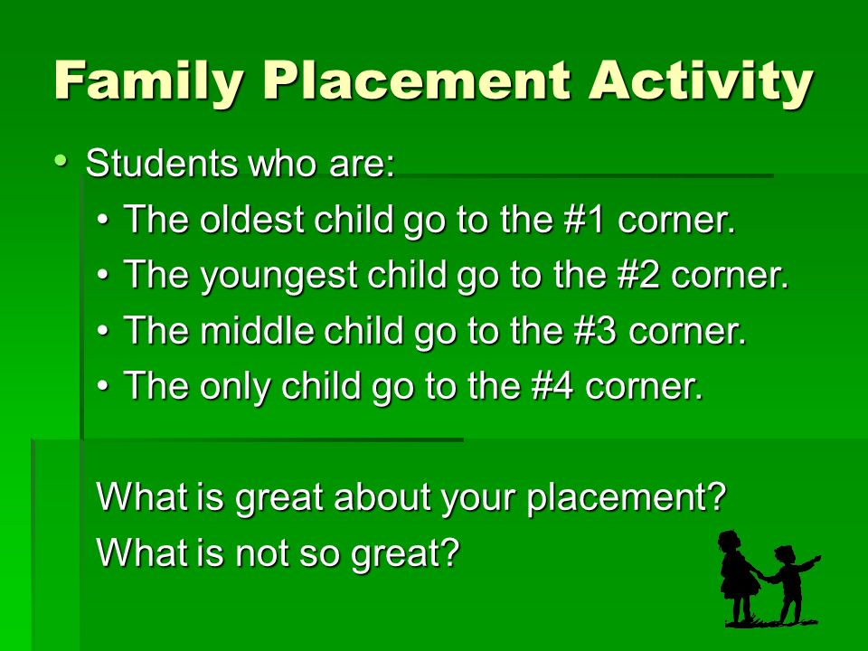 Family Placement Activity Students who are: Students who are: The oldest child go to the #1 corner.The oldest child go to the #1 corner.