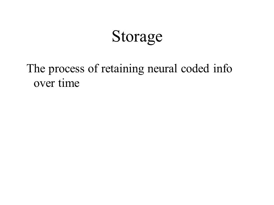 Encoding Process of translating info into neural codes that will be retained in memory