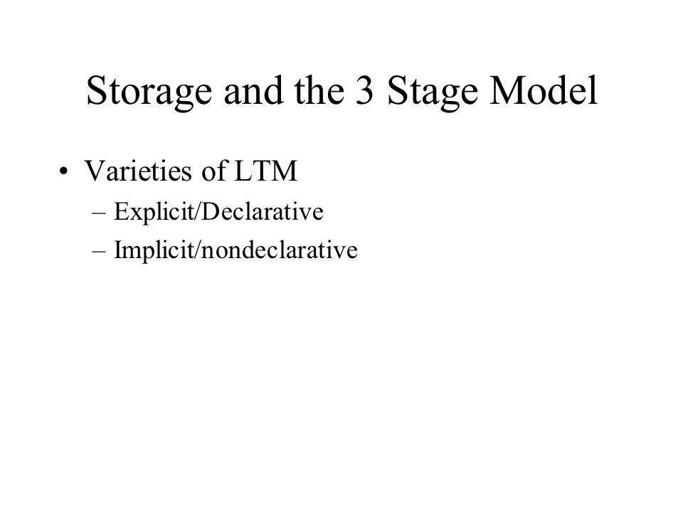 Encoding and the 3 Stage Model Organization –STM and chunking –LTM and hierarchies Rehearsal –STM and shallow processing –LTM and elaborative processing