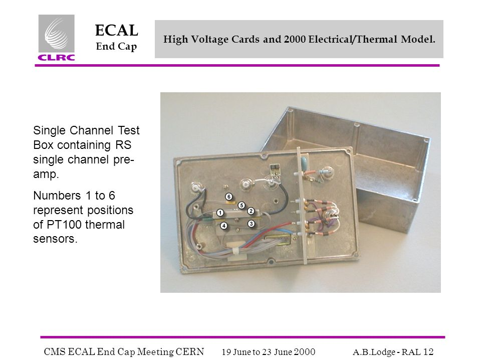 CMS ECAL End Cap Meeting CERN 19 June to 23 June 2000 A.B.Lodge - RAL 12 ECAL End Cap High Voltage Cards and 2000 Electrical/Thermal Model.