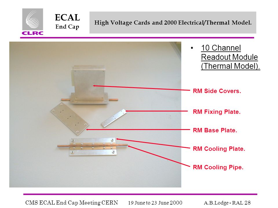 CMS ECAL End Cap Meeting CERN 19 June to 23 June 2000 A.B.Lodge - RAL 28 ECAL End Cap High Voltage Cards and 2000 Electrical/Thermal Model.