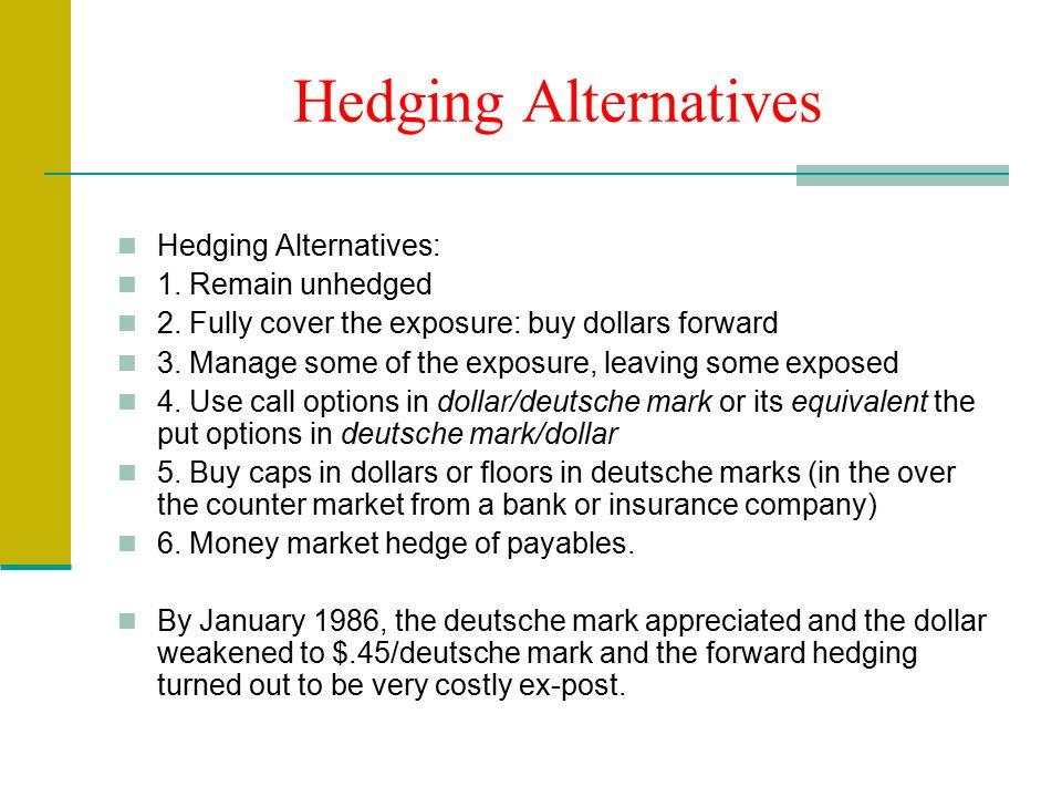 Hedging Alternatives Hedging Alternatives: 1. Remain unhedged 2.