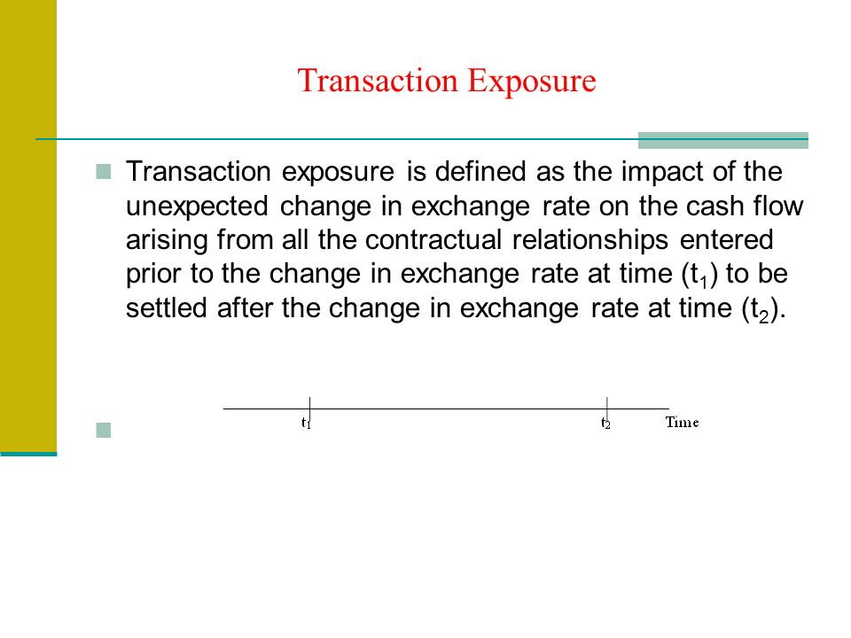Transaction Exposure Transaction exposure is defined as the impact of the unexpected change in exchange rate on the cash flow arising from all the contractual relationships entered prior to the change in exchange rate at time (t 1 ) to be settled after the change in exchange rate at time (t 2 ).