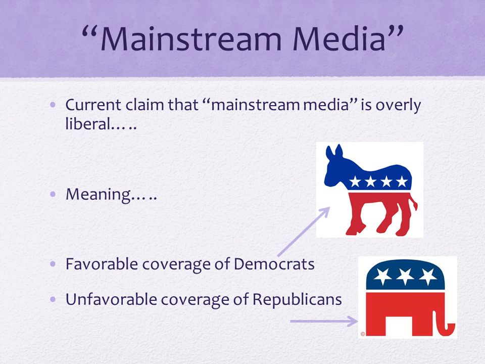 Mainstream Media Current claim that mainstream media is overly liberal…..