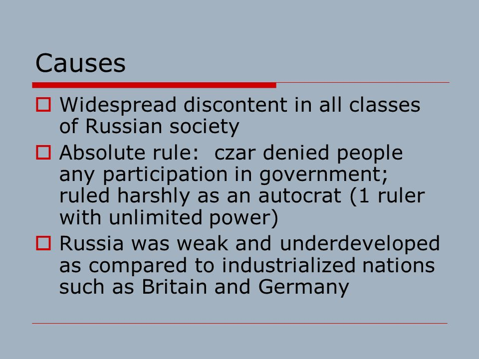 What were the causes of the Russian revolution of 1917?