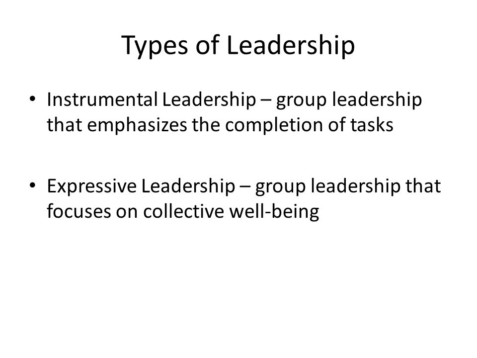 Types of Leadership Instrumental Leadership – group leadership that emphasizes the completion of tasks Expressive Leadership – group leadership that focuses on collective well-being