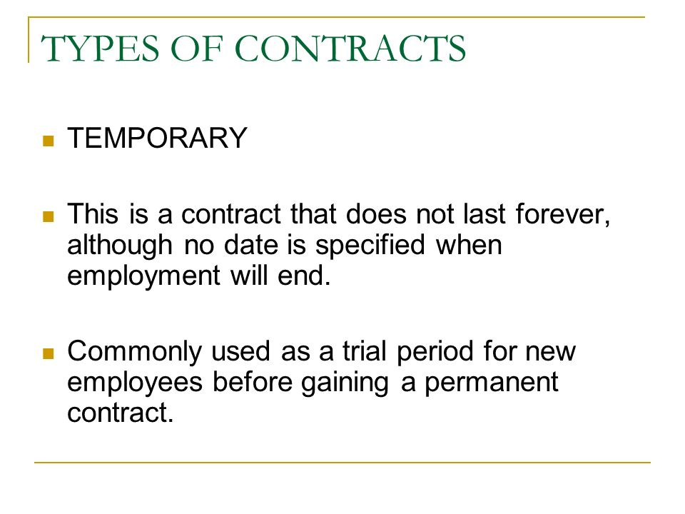 Contracts Of Employment. Features Of A Contract Under The