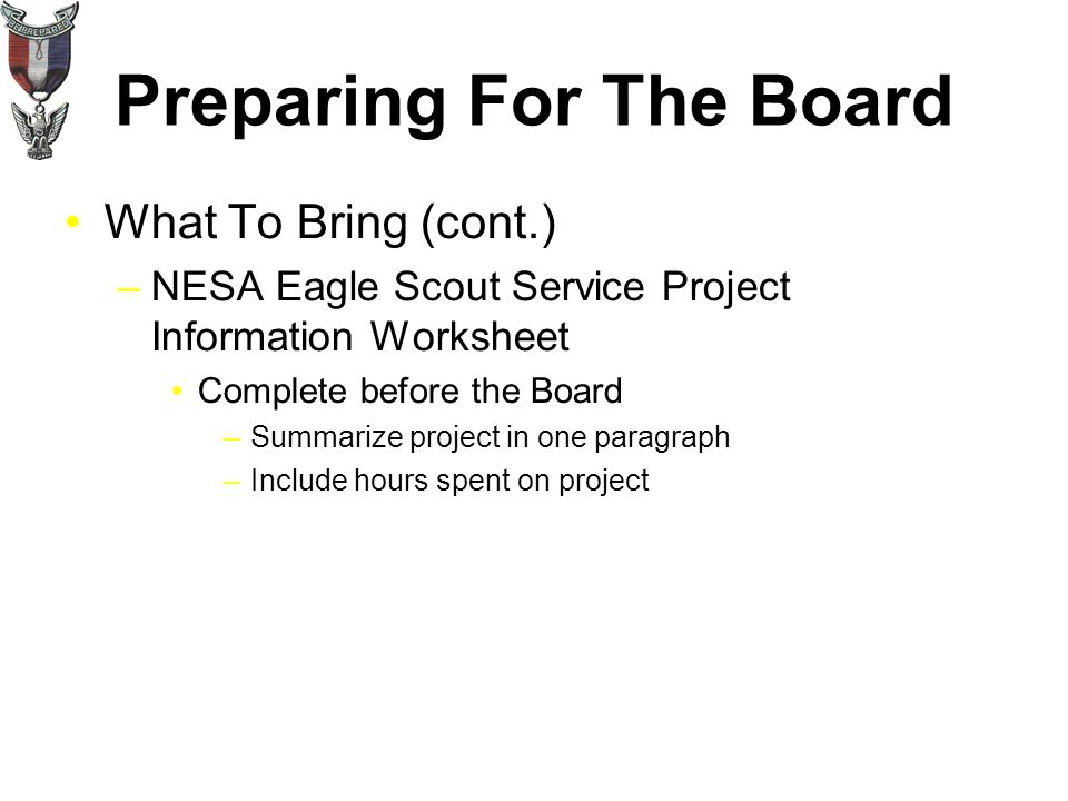 Preparing For The Board What To Bring Original Eagle Project – Eagle Scout Worksheet