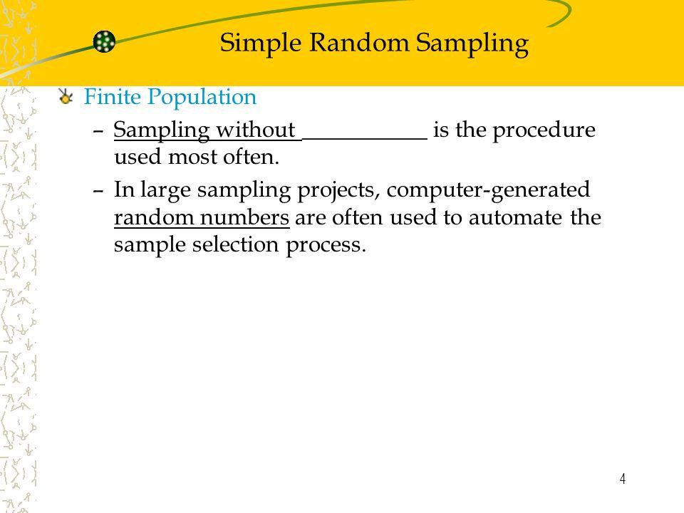 1 Chapter 7 Sampling and Sampling Distributions Simple Random ...