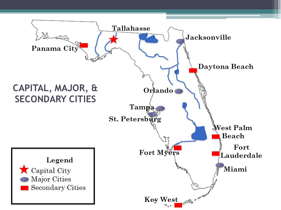 FLORIDA Unit Panhandle Region North Florida WestGulf Coast - Major cities in florida